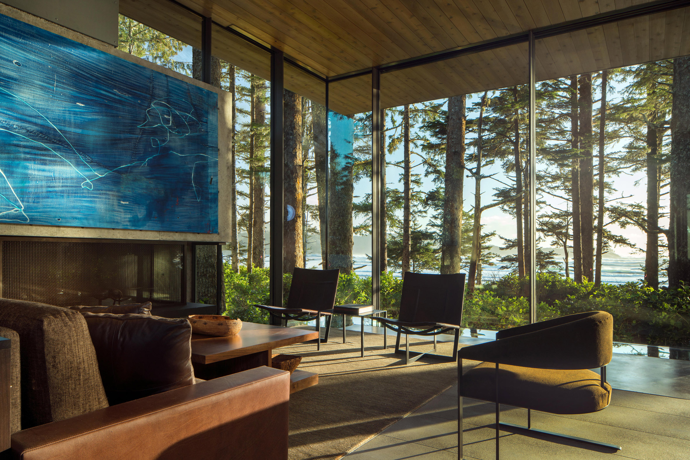 Living area with forest view