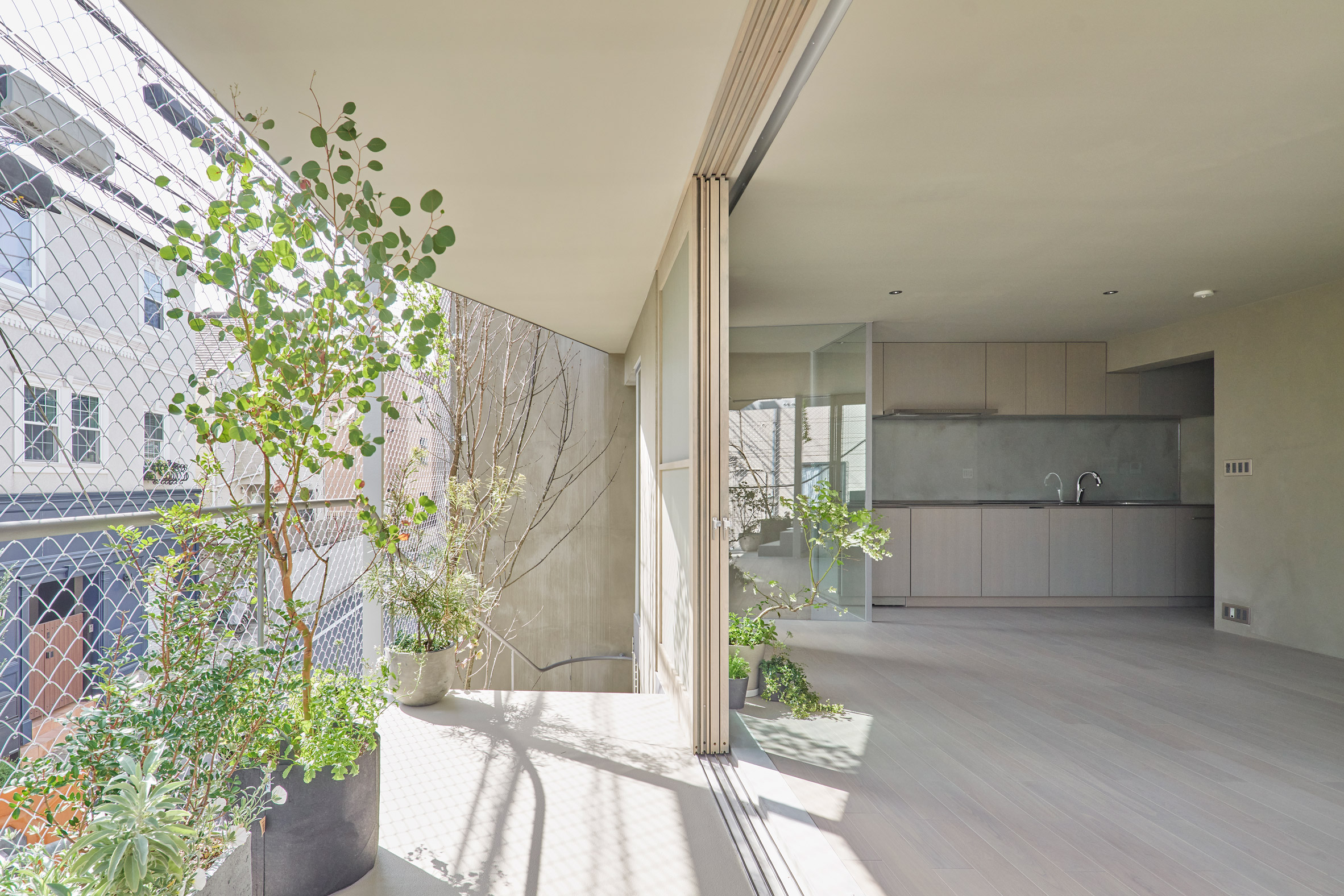 A kitchen with a terrace