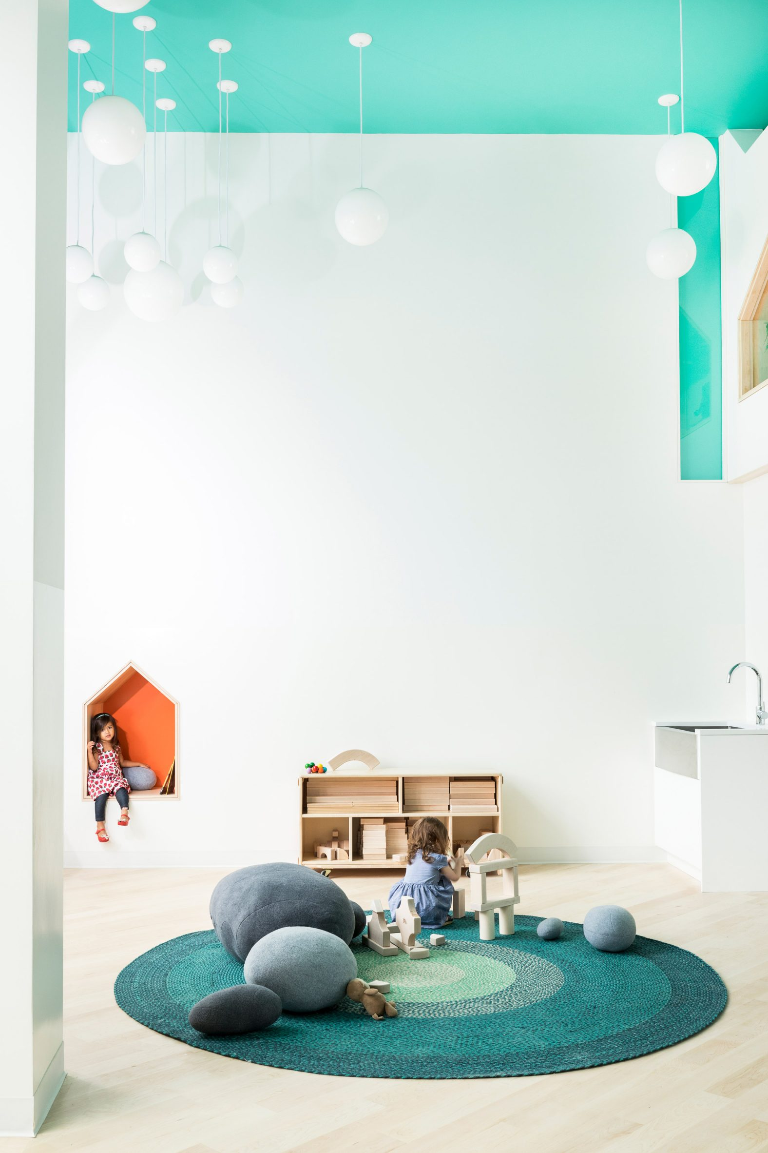 Movable furniture allows the nursery to be reconfigured for special events