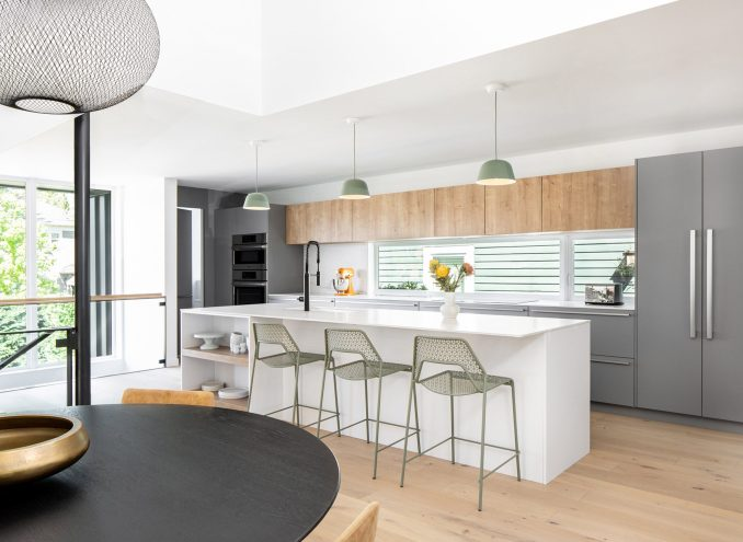 The bungalow's kitchen is bright and airy