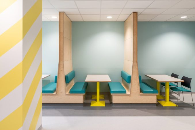 Banquettes in dining room at CAMHS Edinburgh