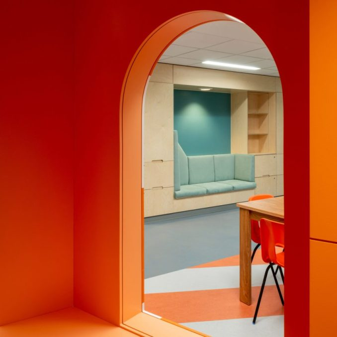 Orange lighthouse interior at CAMHS Edinburgh by Projects Office