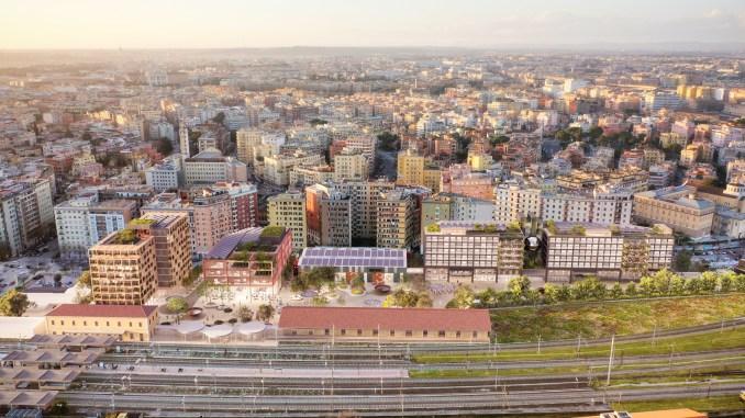 Aerial rendering of the Campo Urbano development sitting between railway tracks and dense Roman neighbourhoods
