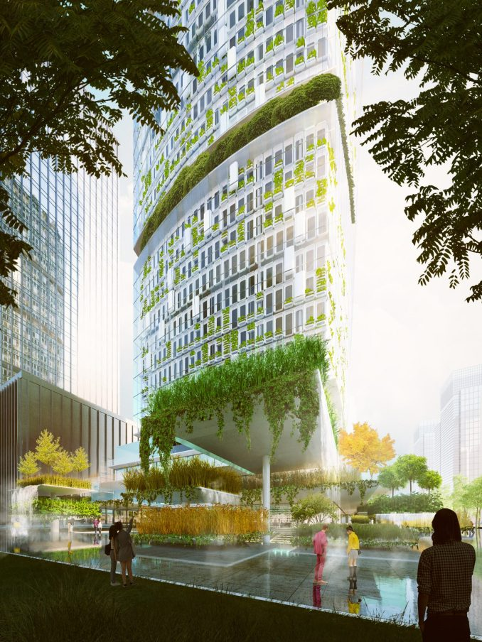 Jian mu tower will be wrapped in landscaped terraces