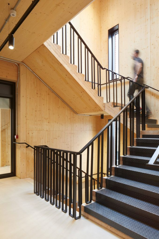 CLT structure on staircase of The Department Store Studios by Squire and Partners