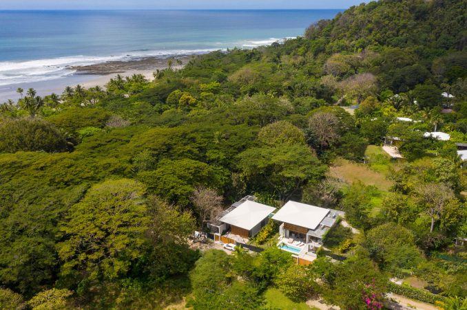 Aerial view of Naia houses within the jungle of Costa Rica