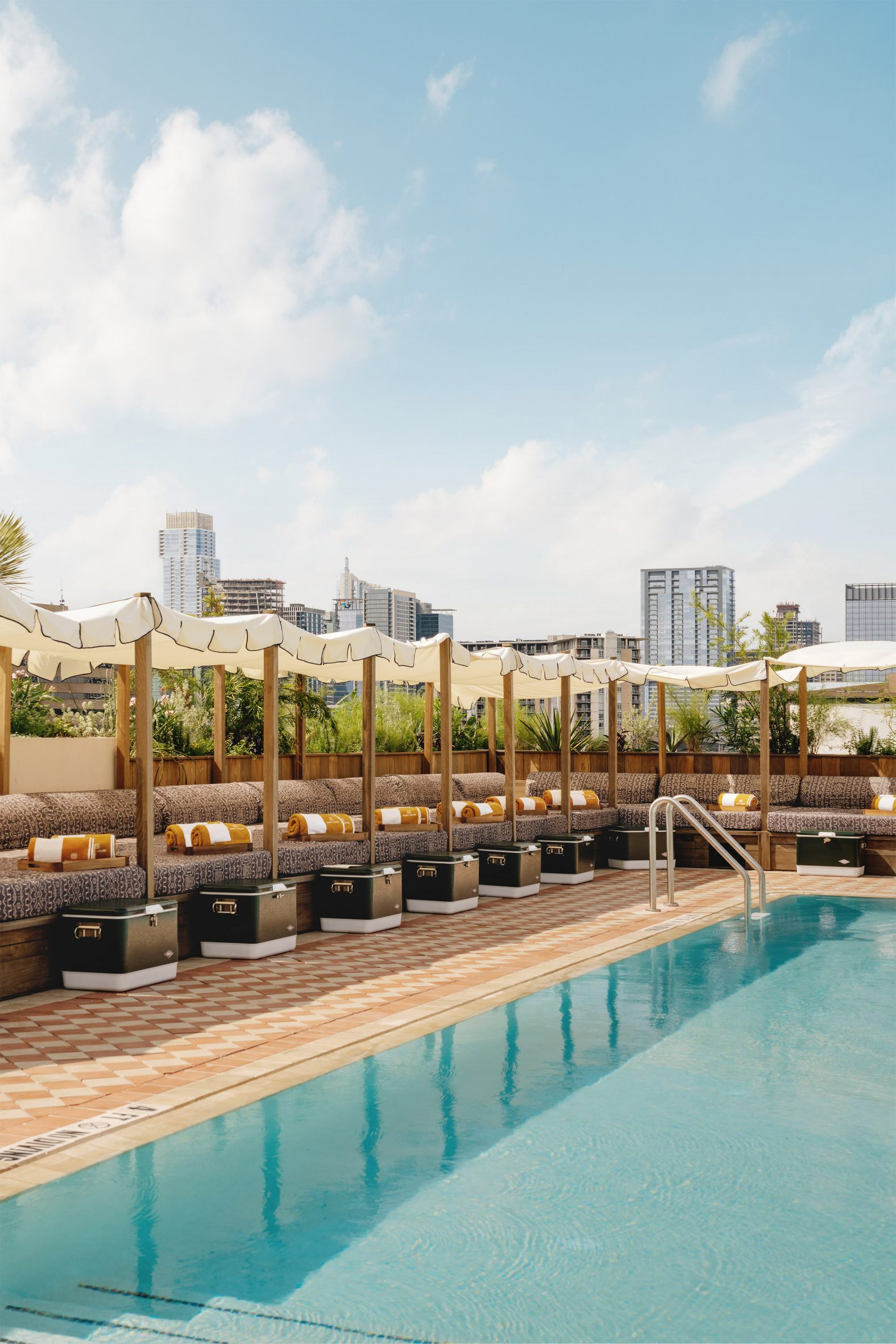 Swimming pool with Austin skyline behind