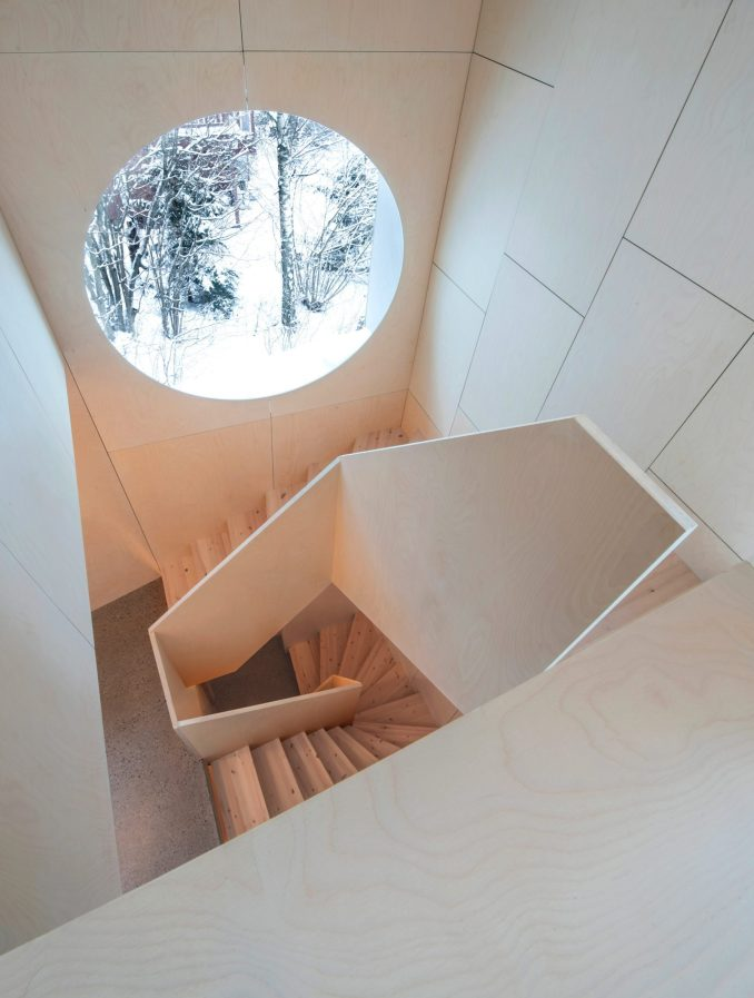 A wood-lined stairwell
