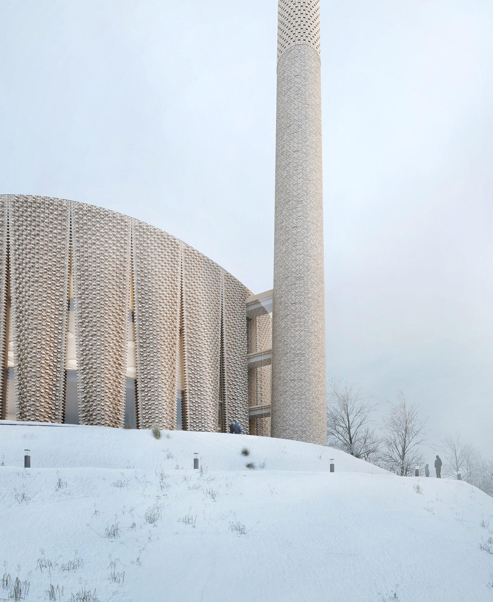 A render of the Brick Veil mosque exterior