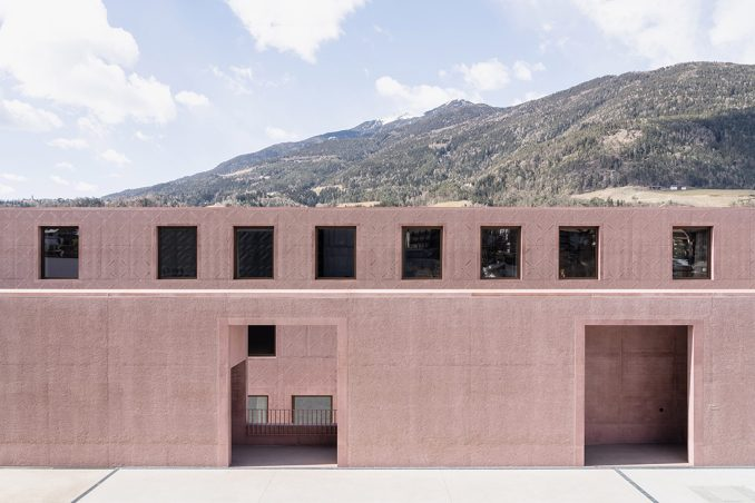 The patterned exterior of the Music School of Bressanone