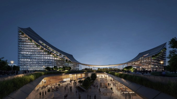 BIG's CityWave canopy is a thin sheet of dowel-laminated timber suspended between two buildings