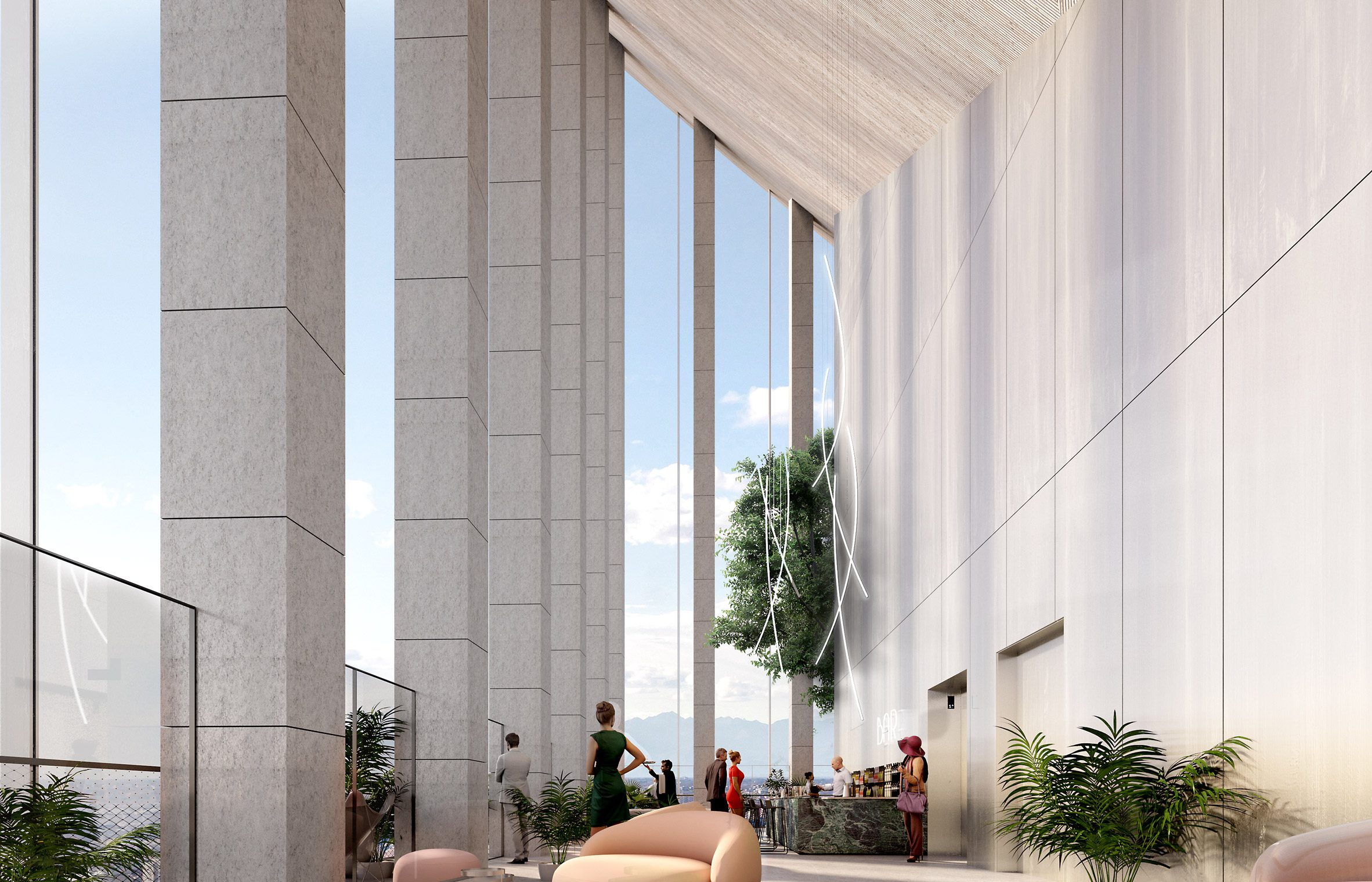 Rendering of the sky bar and restaurants at the CityWave building