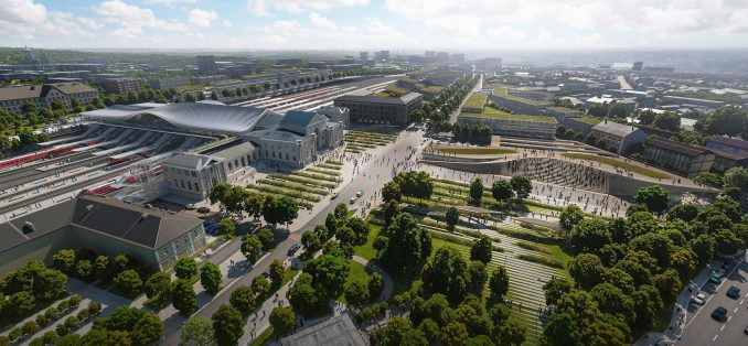 A aerial visual of the planned Vilnius railway station renovationrender of the Green Connect renovation of Zaha Hadid Architects