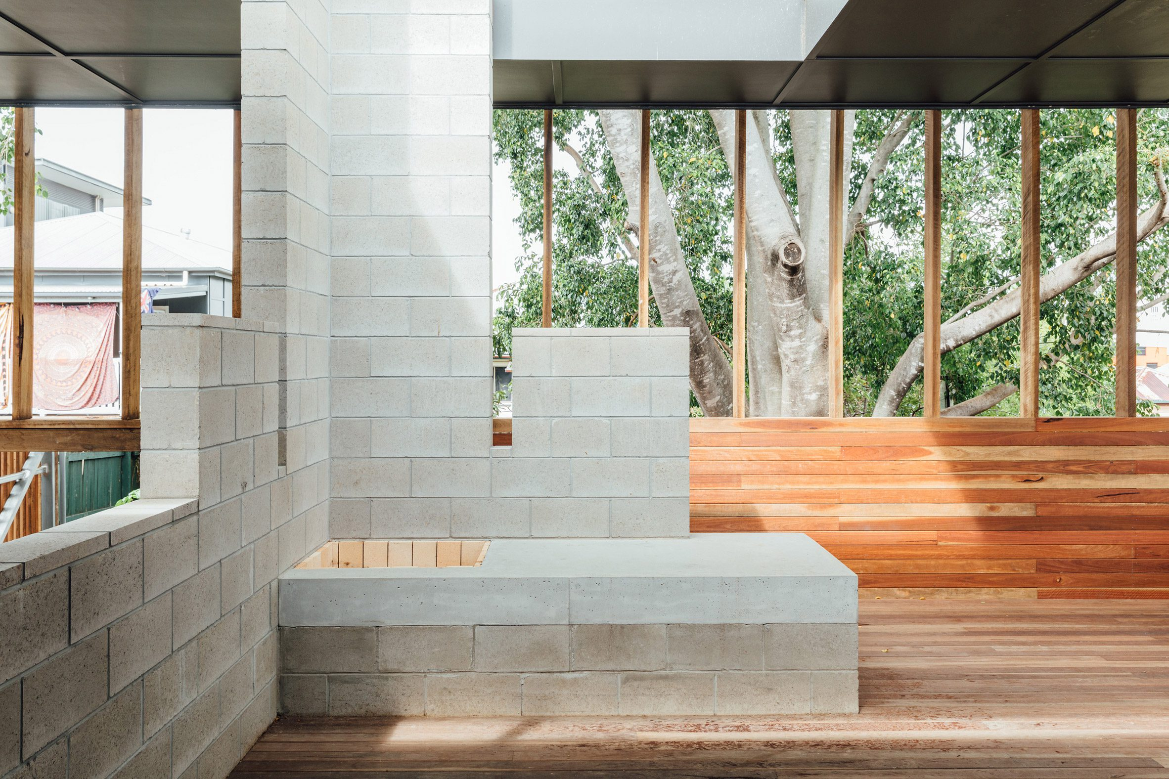 Concrete blocks within house extension