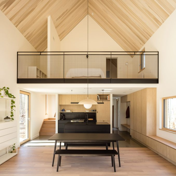 Vaulted ceilings in the wooden cottage