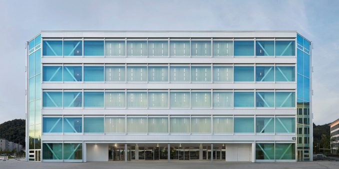 Facade of Roche Multifunctional Workspace Building is the third building by Christ & Gantenbein