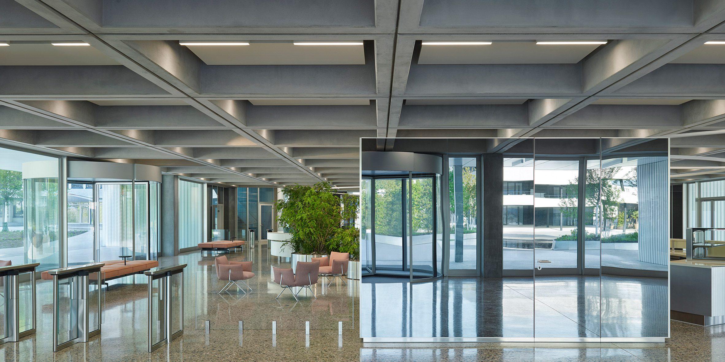 Ground floor reception of Roche Multifunctional Workspace Building is the third building by Christ & Gantenbein