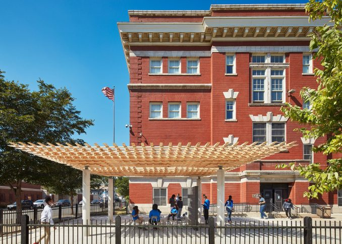 SOM architects' SPLAM pavilion outside of EPIC Academy's South Shore campus in Chicago