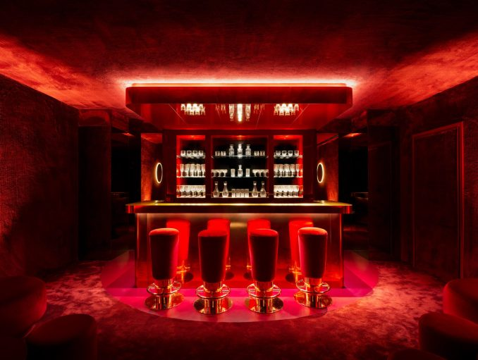 A bar space has a bright red hue