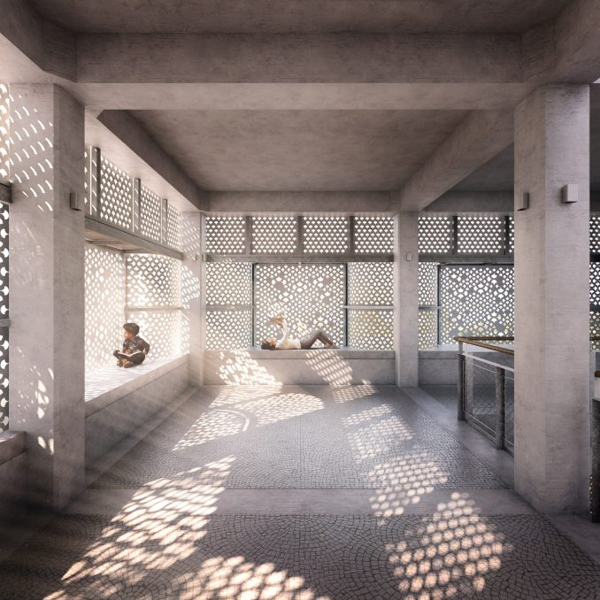 light filters through the perforated facade at Titled Third Space: The Haveli of Curiosity