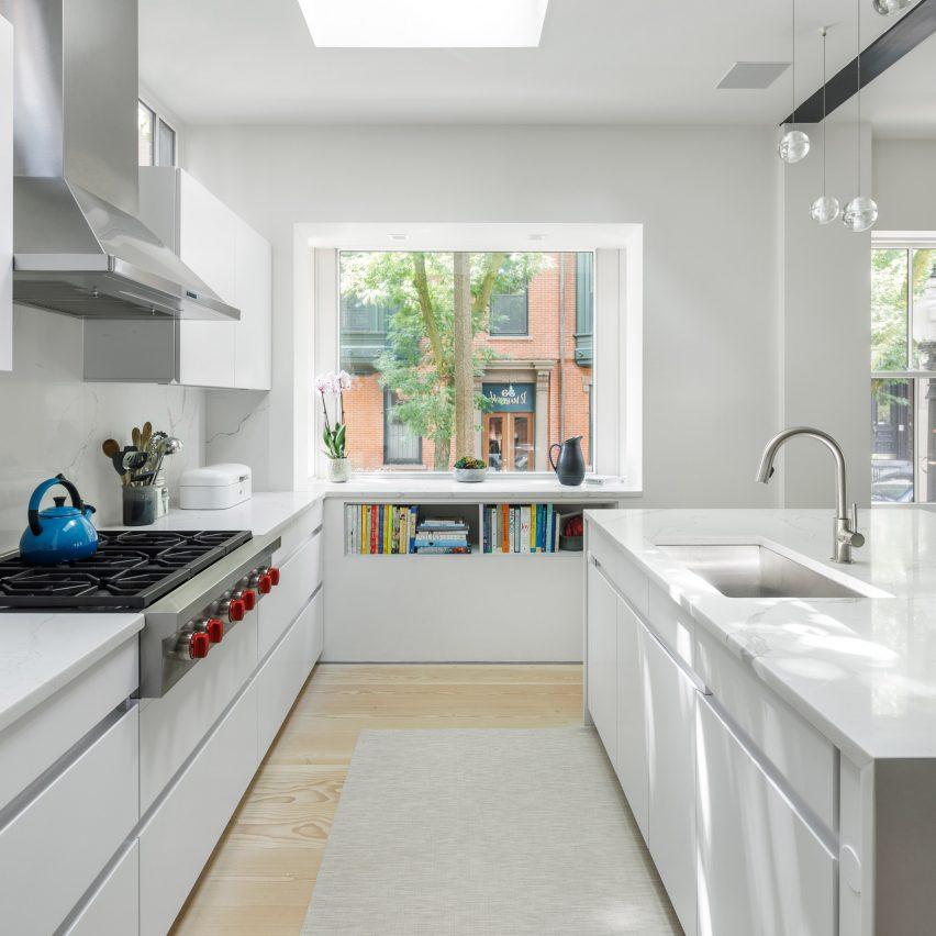 Boston house kitchen has a large window