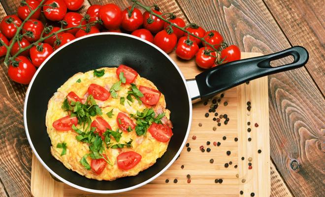 Receta de tortilla francesa con tomates cherry