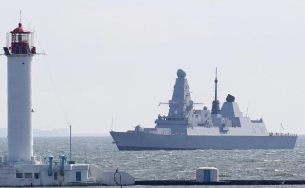 HMS 'Defender' of the Royal Navy arrives at the port of Odessa, in Ukraine.