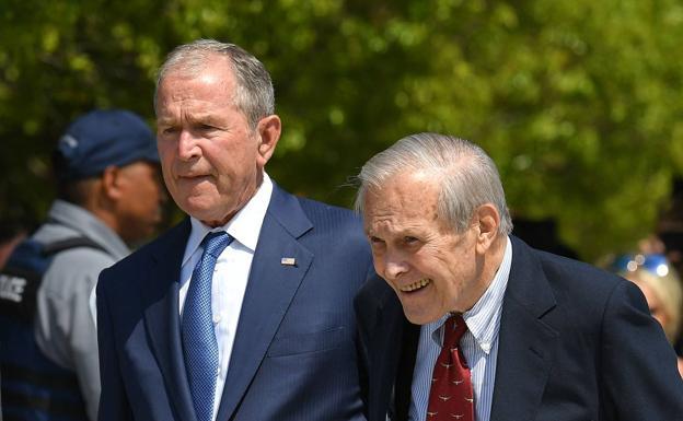 Former President George W. Bush with his former Defense Secretary Donald Rumsfeld.