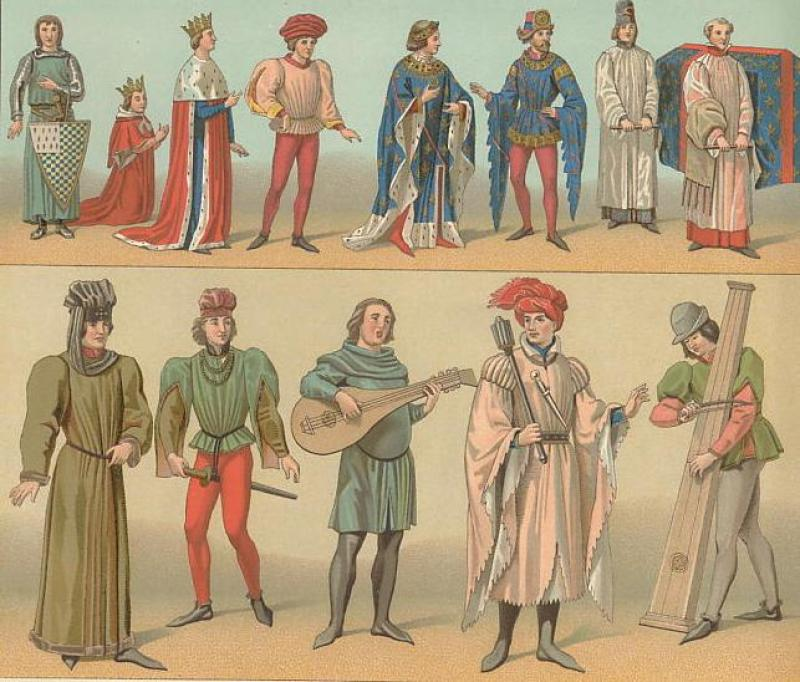 Artwork of people in Medieval Clothing