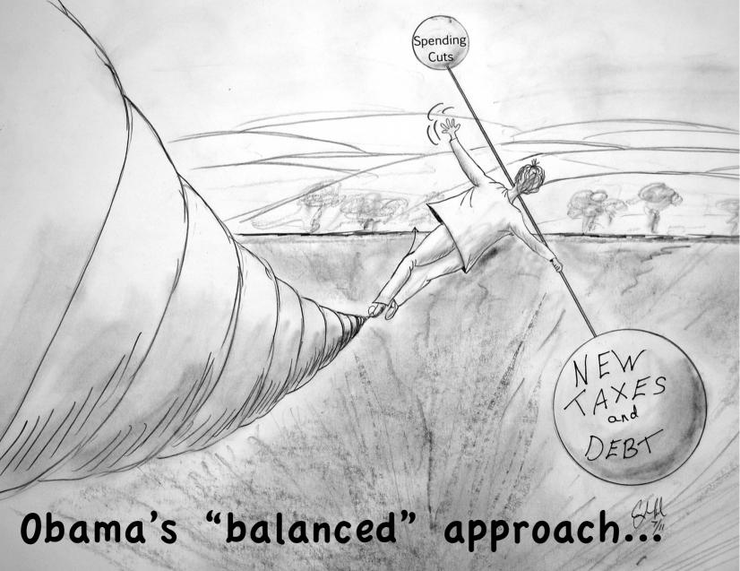 Cartoons By Clayton Liotta @DickMorris.Com: Obama's 'Balanced' Debt Plan - Click Here!