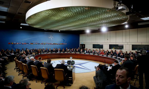 NATO foreign ministers gather for the session to formally admit Montenegro during ministerial meetings at NATO Headquarters in Brussels