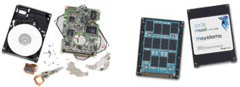 Disassembled components of HDD (left) and SSD (right) drives.