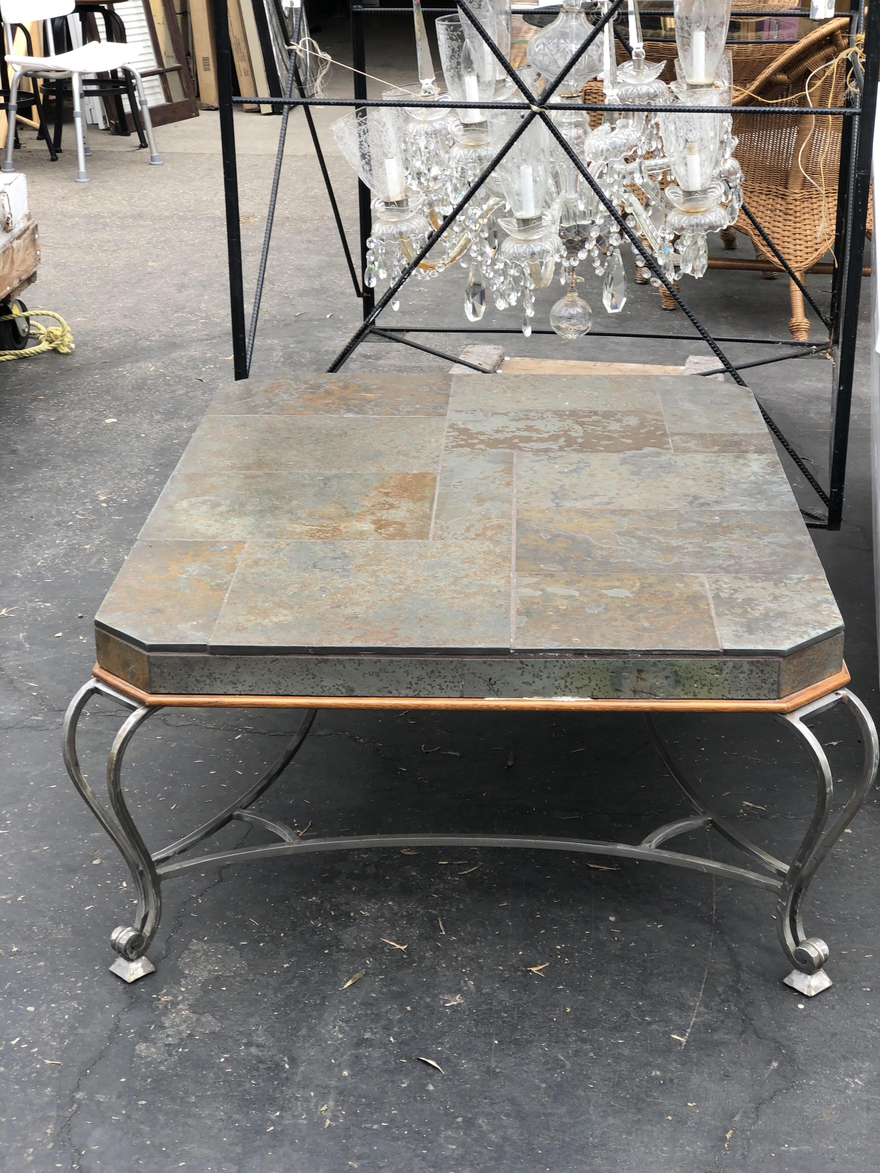 slate topwrought iron base outdoor