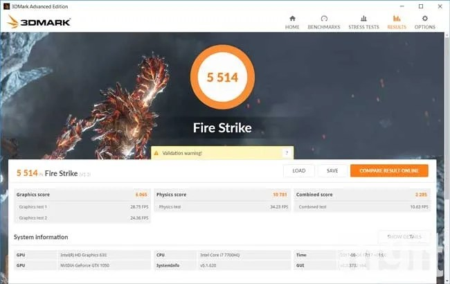 Acer Nitro V AN515-51 Fire Strike