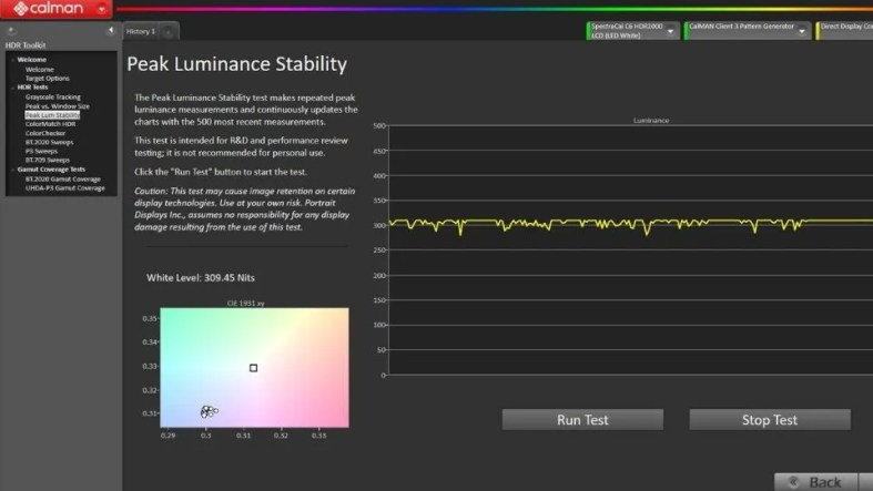 Lenovo Legion 5 Calman Peak Luminance test