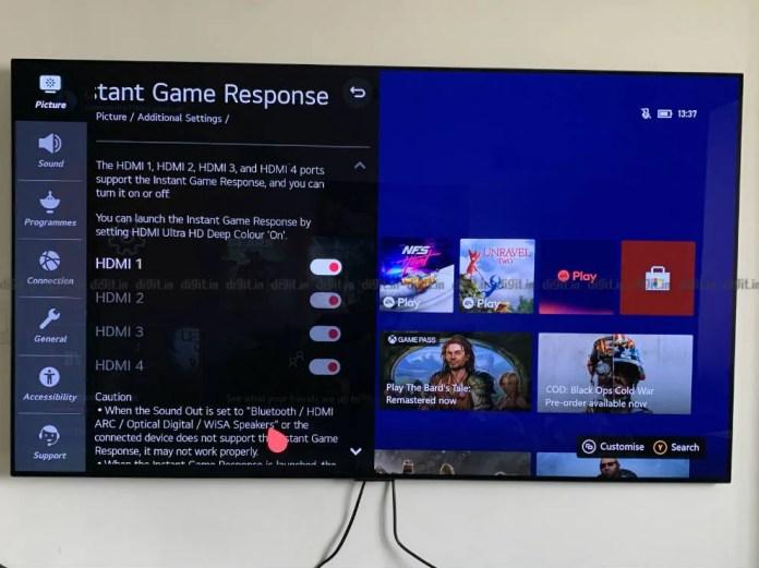 Você pode ativar o modo de jogo em portas HDMI selecionadas ou em todas as portas do LG GX.