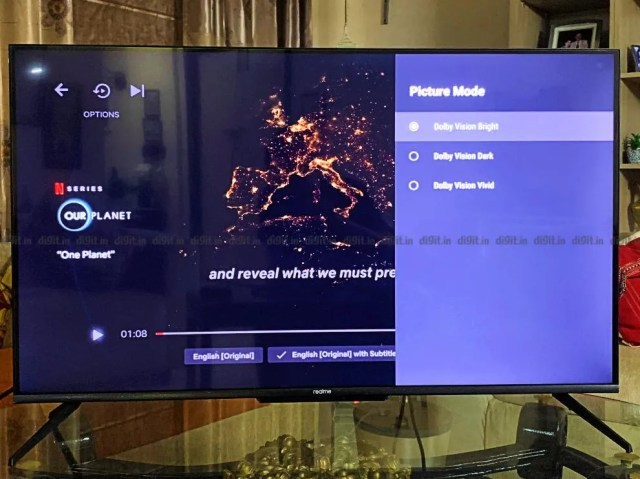 The Realme TV Supports Dolby Vision Bright, Dolby Vision Dark and Dolby Vision Vivid.