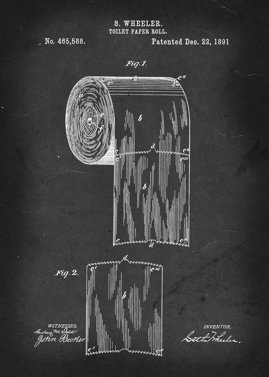 toilet paper roll patent 465 588 by s wheeler 189