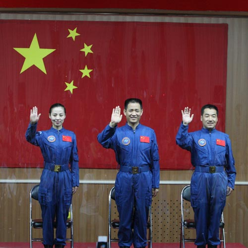 A filr photo of Chinese astronauts of the Shenzhou-10 manned spacecraft mission Wang Yaping, Nie Haisheng and Zhang Xiaoguang.