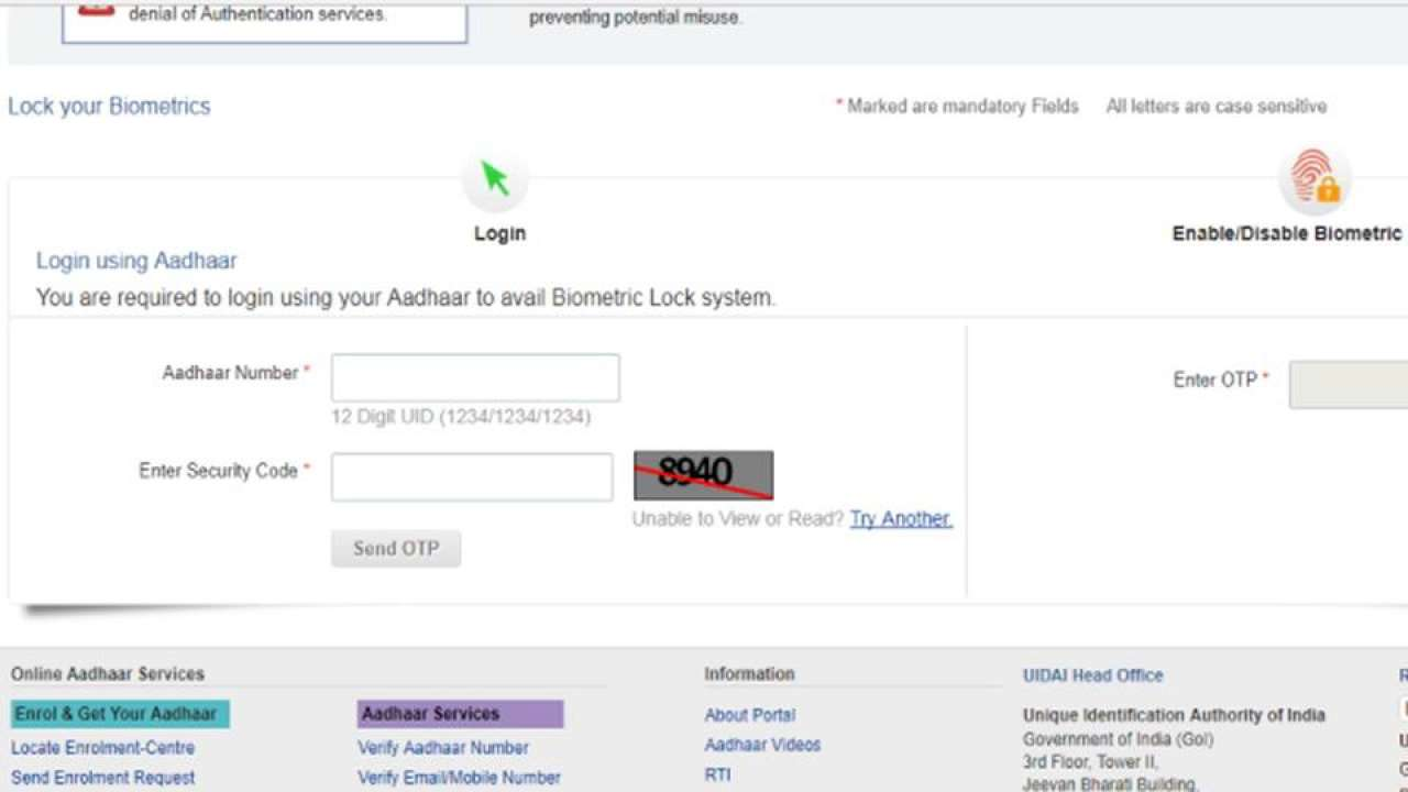 Aadhaar biometric lock