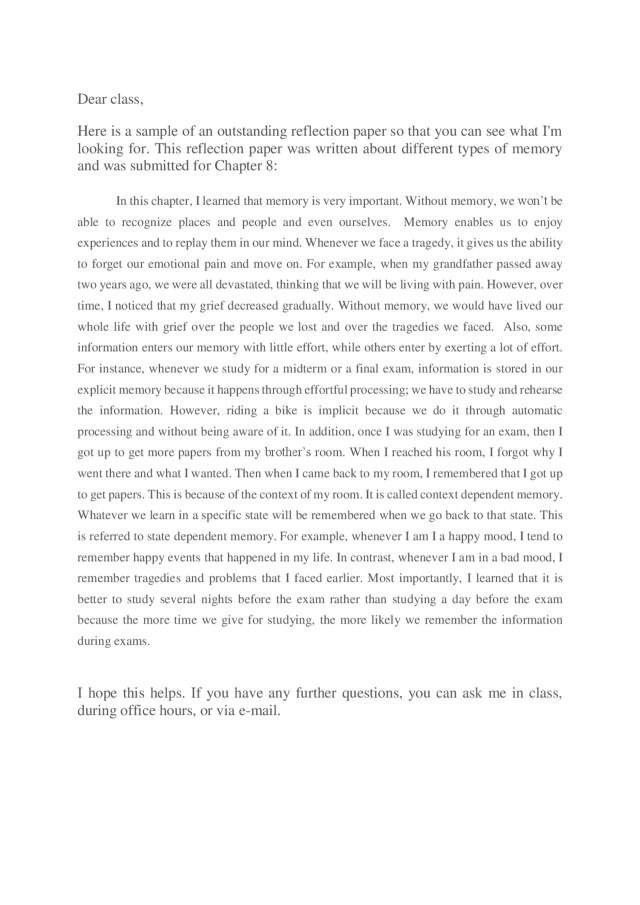 Reflective paper example (15)psychology - Docsity