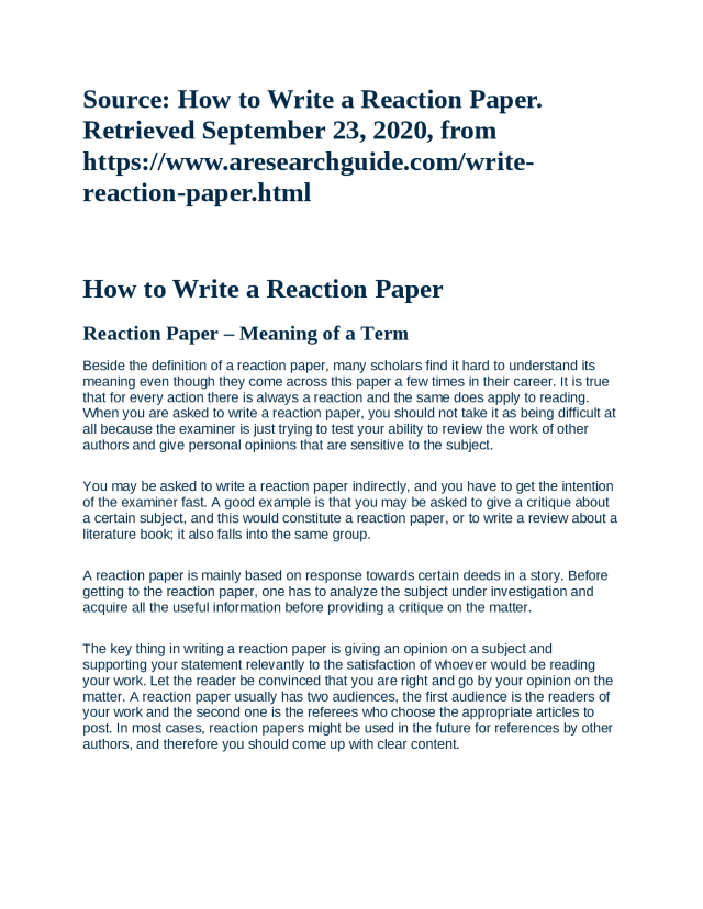 How to Write Reaction paper - Docsity