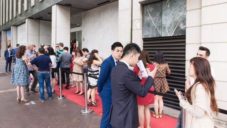 Buyers queue up ahead of the launch of the Opera Residences development at Circular Quay.