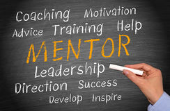 "Person writing the word ""mentor"" and all its definitions."