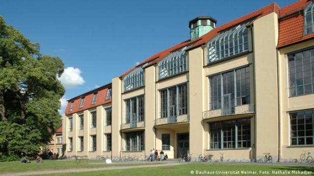 Exterior of the Bauhaus University building in Weimar