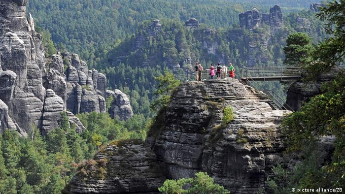 Sandstone cliffs in the Saxon Switzerland National Park, Germany