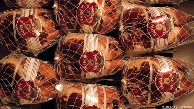 Prosciutto di Parma packed in string bags
