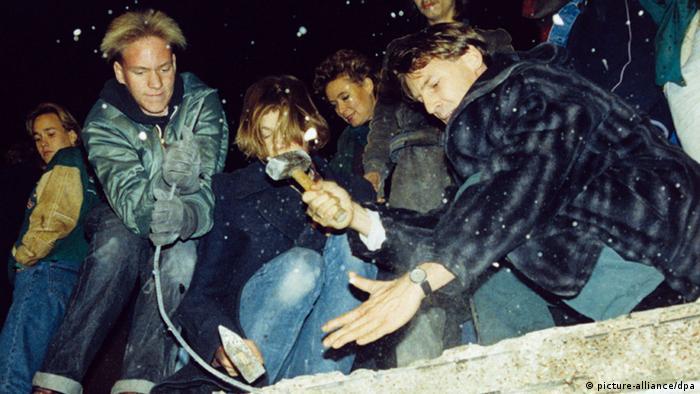 Берлинская стена в 1989 году