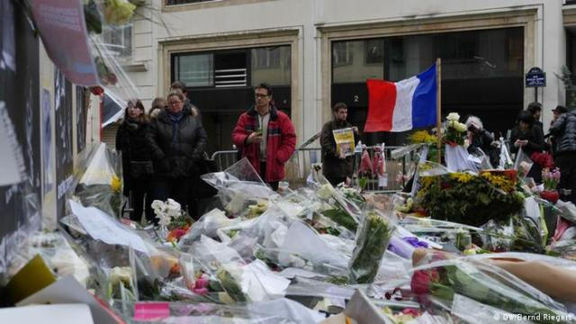 Flowers at the editorial office of Charlie Hebdo in Paris