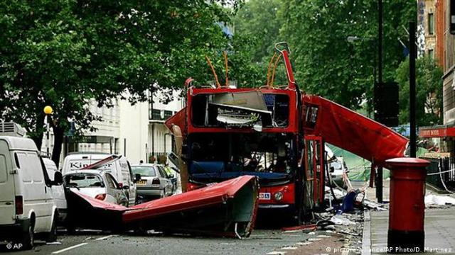 Bus blown up in London